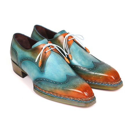 Norwegian Welted Wingtip Derby Shoes // Turquoise + Tobacco (Euro: 38)