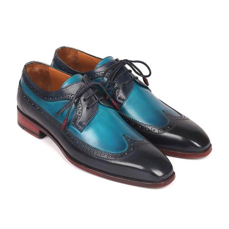 Dual Tone Wingtip Derby Shoes // Blue (Euro: 38)