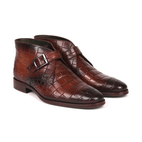 Single Monk Strap Ankle Boots // Brown (Euro: 38)