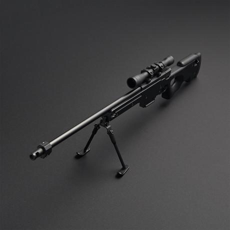 L96 Sniper Rifle 1:3 Scale Diecast Metal Model Gun + Scope + Bipod // Black