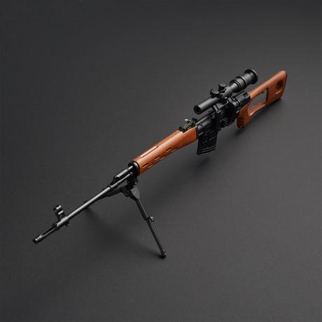 TSMG M1A1 1:3 Scale Diecast Metal Model Gun + Display Stand // Black + Brown
