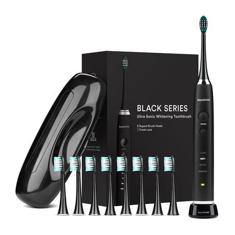 AquaSonic Black Series // Ultra Sonic Whitening Toothbrush + 8 Dupont Brush Heads + Travel Case