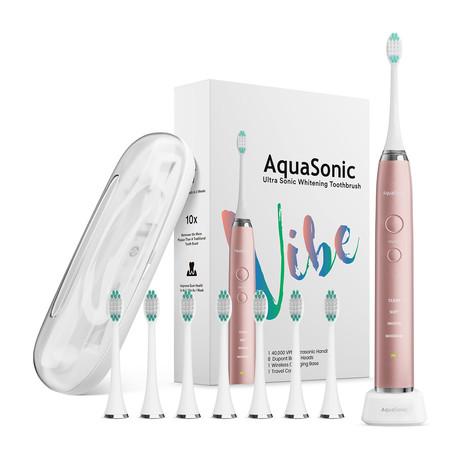 AquaSonic VIBE // UltraSonic Whitening Toothbrush + 8 DuPont Brush Heads + Case (Rose Gold)