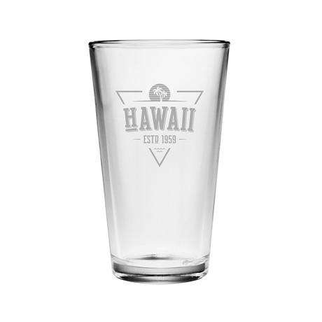 Pint Glasses // Hawaii State Vintage Series // Set of 4
