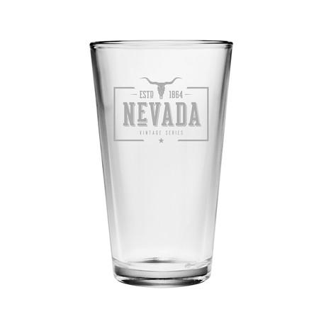 Pint Glasses // Nevada State Vintage Series // Set of 4