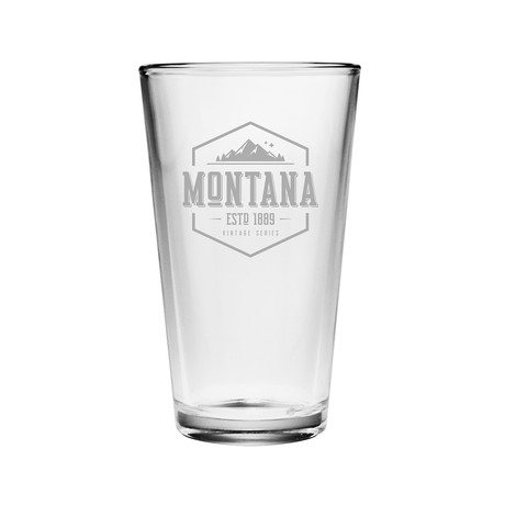 Pint Glasses // Montana State Vintage Series // Set of 4