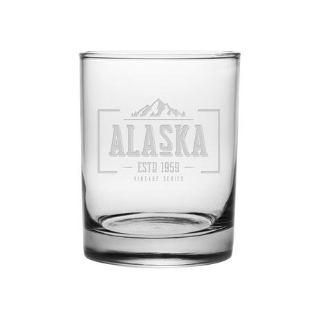 Rocks Glasses // Alaska State Vintage Series // Set of 4
