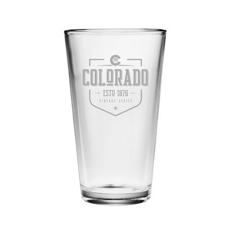 Pint Glasses // Colorado State Vintage Series // Set of 4