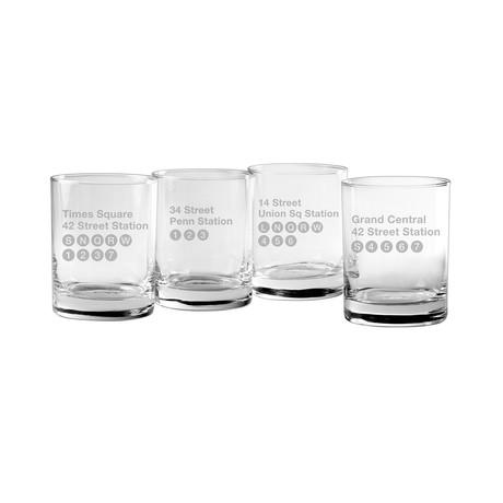 Rocks Glasses // NYC Subway Series // Set of 4