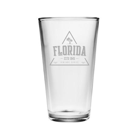Pint Glasses // Florida State Vintage Series // Set of 4