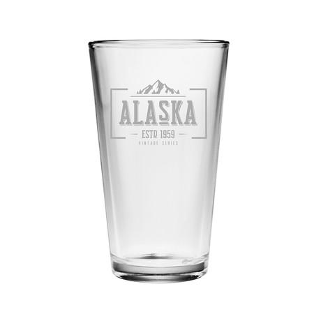 Pint Glasses // Alaska State Vintage Series // Set of 4