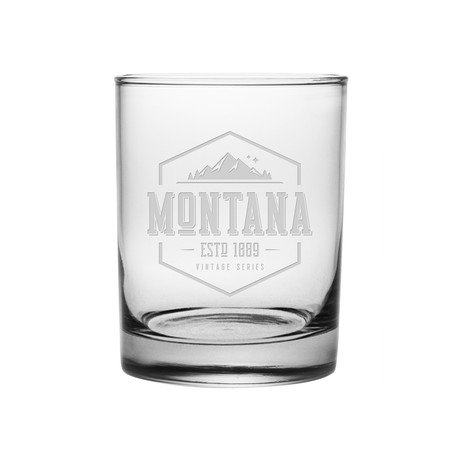 Rocks Glasses // Montana State Vintage Series // Set of 4