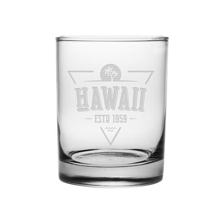 Rocks Glasses // Hawaii State Vintage Series // Set of 4