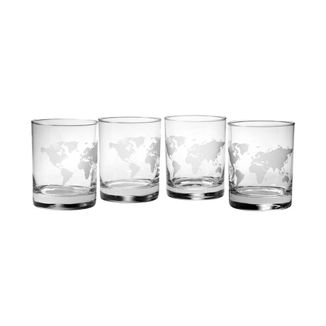 Rocks Glasses // Map of the World // Set of 4