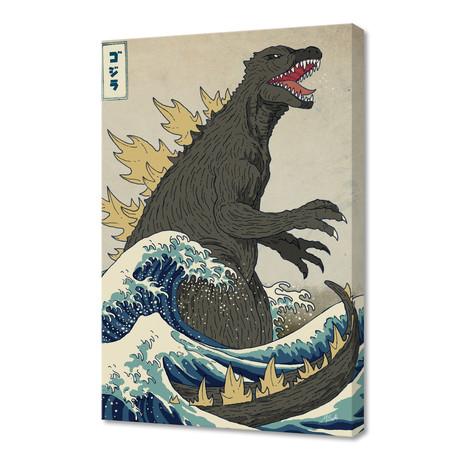 """The Great Godzilla Off Kanagawa (16""""W x 24""""H x 1.5""""D)"""