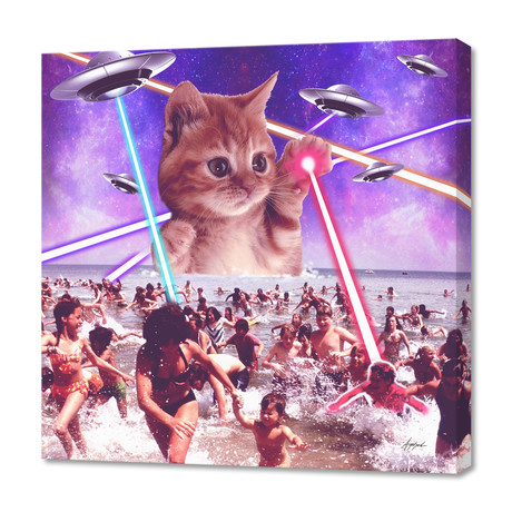 "cat invader from space galaxy marsians (16""W x 24""H x 1.5""D)"
