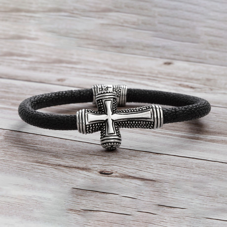 Leather Band Cross Bracelet // Black