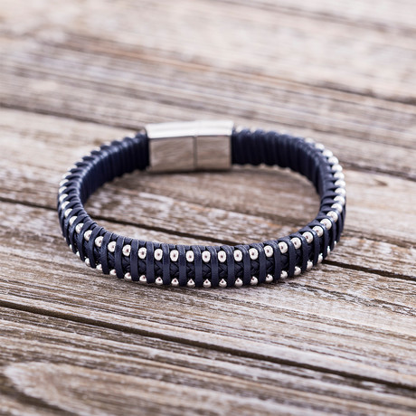 Wrapped Leather + Beaded Magnetic Bracelet // Navy Blue
