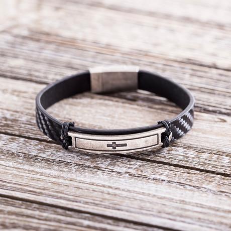 Cross Plate Leather Magnetic Bracelet // Black