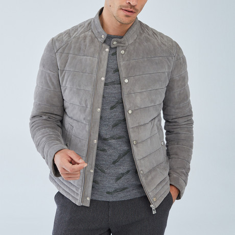 Silver Leather Jacket // Gray (S)