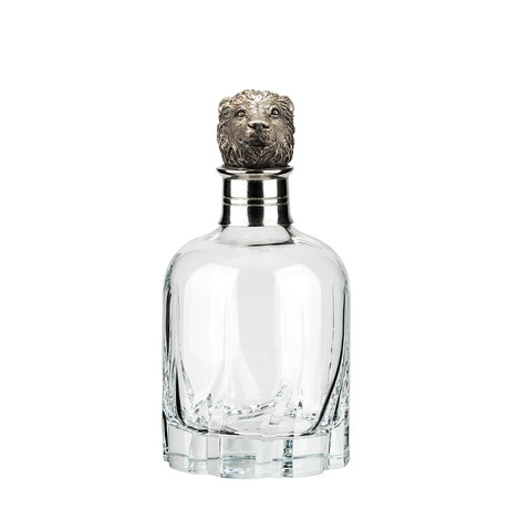 Menagerie Modern Crystal Whiskey Decanter // Lion