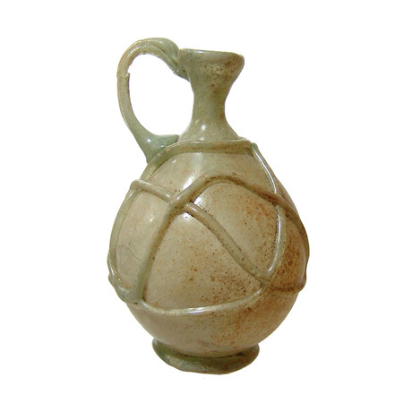 Roman Glass Vessel With Crisscross Threading // 5th - 6th Century AD