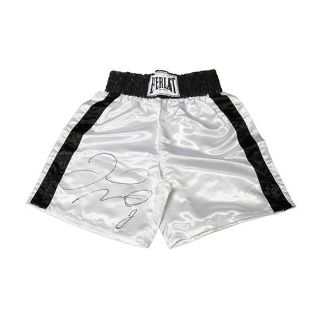Floyd Mayweather Jr // Signed Everlast Boxing Trunks // White