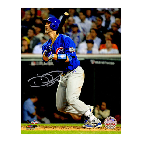 """David Ross // Signed Last Career At Bat HR Photo // Chicago Cubs // 2016 World Series Game 7 // 8"""" x 10"""""""