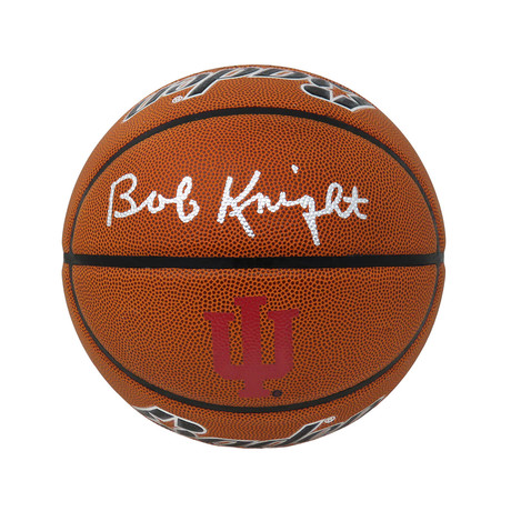 Bobby Knight // Signed Brown Collegiate Composite Basketball // Indiana Hoosiers Logo