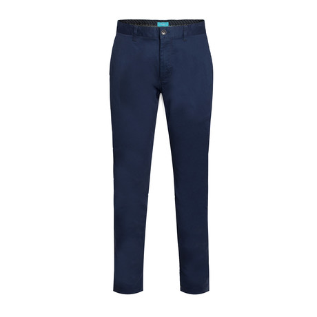 Cotton Stretch Slim-Fit Chinos // Navy (32WX30L)
