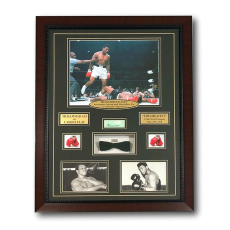 Muhammad Ali // Authentic Worn Bow Tie Autographed Collage
