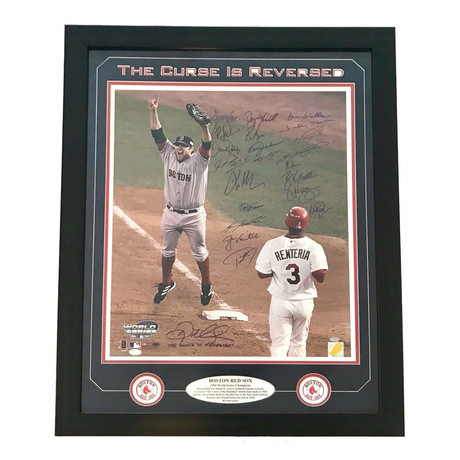 """2004 Boston Red Sox Team Signed """"Reverse The Curse"""" Framed Photo"""
