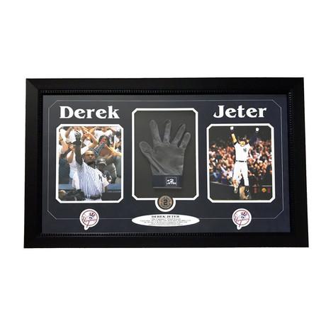 Derek Jeter // Framed Yankees Glove + Last Game Dirt Collage
