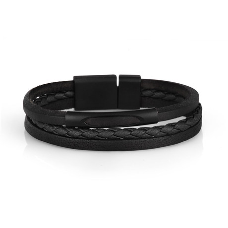 Parker Leather Bracelet // Black