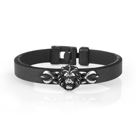 Lion's Head Leather Bracelet // Black