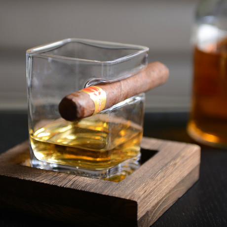 Whiskey Glass + Square Wooden Tray