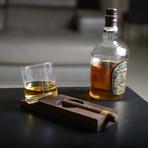 Whiskey Tilt Glass + Rectangular Wooden Tray