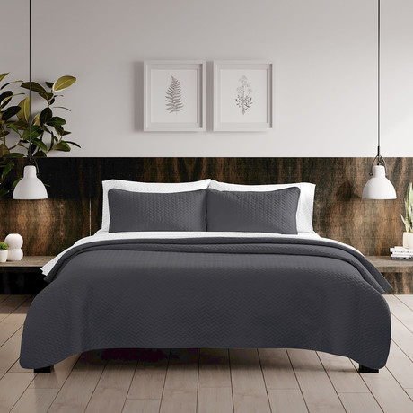 Urban Loft // Espiga Quilt Set // Gray (Queen)