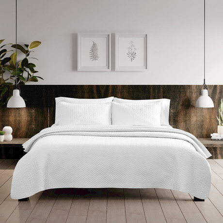 Urban Loft // Espiga Quilt Set // White (Twin)