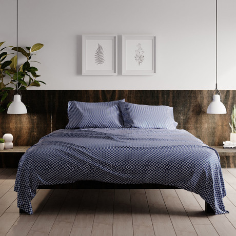 Urban Loft // 4-Piece Frieze Sheet Set // Navy (King)