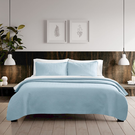 Urban Loft // Espiga Quilt Set // Light Blue (Queen)