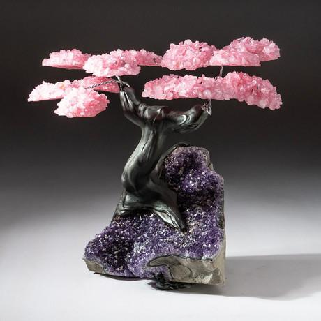 The Love Tree // Custom Rose Quartz Tree + Amethyst Matrix // V12