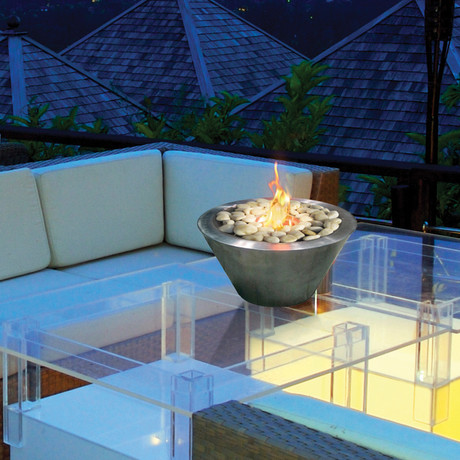 Anywhere Fireplace Oasis // Indoor/Outdoor Fireplace + Polished Rocks + 12-Pack SunJel Fuel (Stainless Steel)