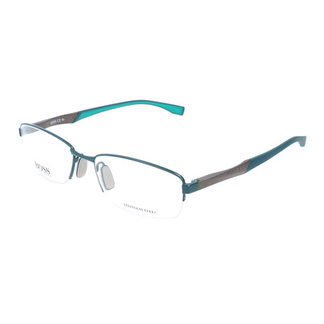 Men's 0709-GZX Optical Frames // Semi Matte Green + Ruthenium