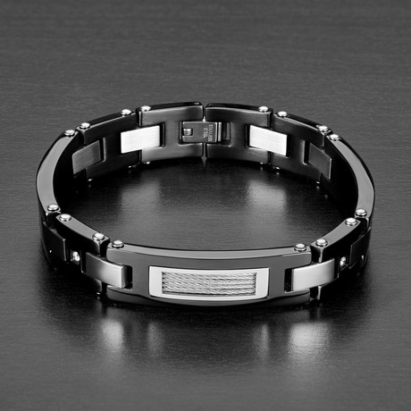 Cubic Zirconia Accents + Cable Inlay ID Plate Link Bracelet // Black + Silver