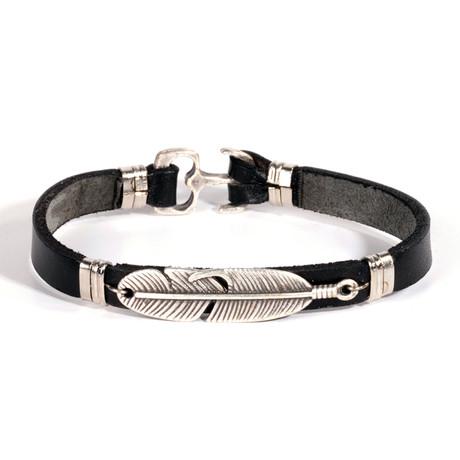 Feather Bracelet // Antique Silver + Black