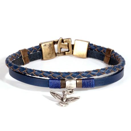 Bird Bracelet // Antique Yellow + Silver + Blue
