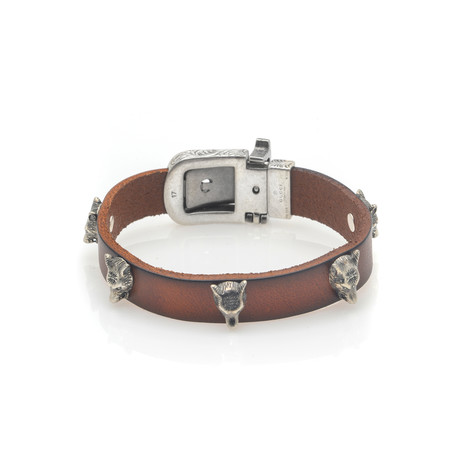 Gucci Anger Forest Sterling Silver + Leather Bracelet IV // Store Display