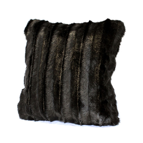 Couture Faux Fur Decorative Pillow // Carved Black Mink