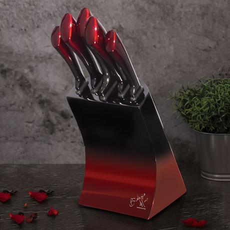 Limited Edition Knife Set + Stainless Steel Block // 6pcs // Burgundy + Black